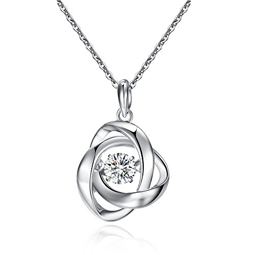 Rose Necklace Dancing Diamond CZ Romantic Dancing Pendant 925 Sterling Silver Dancing Diamond Stone Pendant Necklace Made with AAA Zirconia Women Wedding Gift
