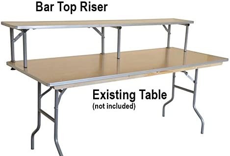 6-Foot Rectangle Banquet Bar Top Riser for Tables, Commercial Quality, with Aluminum Edge, Solid Wood Top, and Rolled Steel Legs Table Not Included