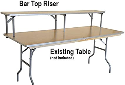 Amazon Com 4 Foot Rectangle Banquet Bar Top Riser For Tables Commercial Quality With Aluminum Edge Solid Wood Top And Rolled Steel Legs Table Not Included Kitchen Dining