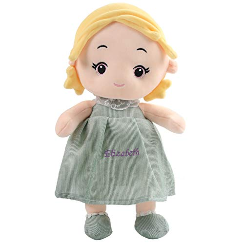 TedYoho Personalized EmbroideredName Dolls Soft Plush Toy Cute Princess 16 inch for Girl Gift (Green)