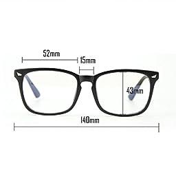 Cyxus Blue Light Filter [Transparent Lens] Glasses,Anti Eye Fatigue Headache Better Sleep Unisex Eyewear(Matte Black Frame)