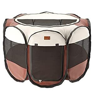 Home Intuition Portable Foldable Pet Playpen Exercise Kennel for Dogs and Cats with Removable Sun Shade, Small Click on image for further info.