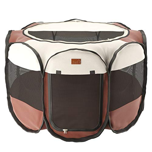 Home Intuition Portable Foldable Pet Playpen Exercise Kennel for Dogs and Cats with Removable Sun Shade, Small