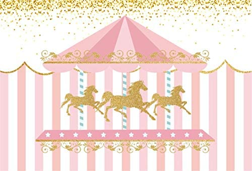 YEELE Carousel Theme Backdrop 10x10ft Pink Stripes Kids Birthday Party Photography Background Party Table Decor Baby Children Portrait Pre-k Event Photobooth Props Digital Wallpaper