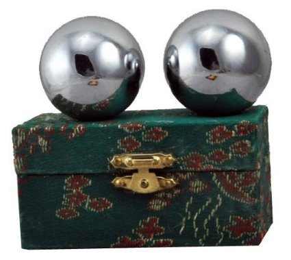 """Chinese Stainless Steel Plain Chi Balls, Hand Massage Balls, Hand Massaging Balls, Cloisonne Balls, Baoding Balls 2"""" Balls (Box Color May Vary)"""
