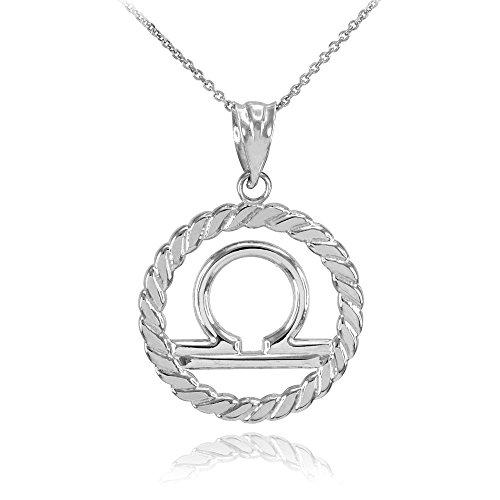Collier Femme Pendentif 10 Ct Or Blanc Balance Zodiaque Signe À Cercle Corde (Livré avec une 45cm Chaîne)
