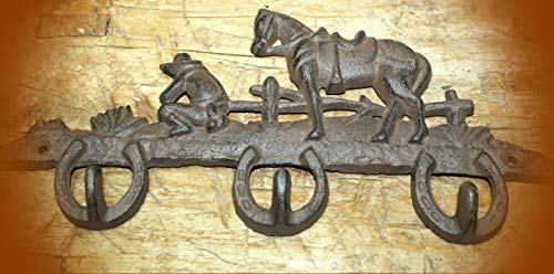(Horseshoe Horse Towel Coat Hooks Hat Hook Key Rack Cowboy Rustic Ranch Vintage Cast Iron Supplies for Home Decor by CharmingSS (with NO Screws))