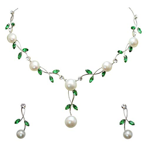 (Faship Gorgeous CZ Crystal Freshwater Pearls Floral Necklace Earrings Set - Green )