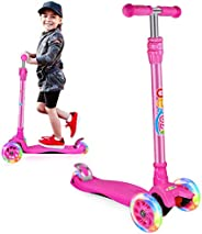 BELEEV Scooters for Kids 3 Wheel Kick Scooter for Toddlers Girls & Boys, Scooter with 3 Adjustable Height