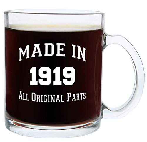 100th Birthday Gifts Made 1919 100th Birthday Party Supplies Gift Glass Coffee Mug Tea Cup White]()
