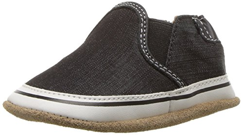 (Robeez Kids Crosshatch Crib Shoe, Canvas Liam Basic - Black, 18-24 Months M US Infant)