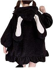 Womens Fuzzy Hoodies Fashion Baggy Hooded Sweatshirt Coats Anime Rabbit Ear Half Zipper Sweater Tops Cosplay