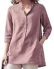 Achinel Vrouwen Linnen Tuniek Top Katoen 3/4 Mouw V-hals Werk Blouse Button Down Dames Stand-up Kraag Shirts met Pocket
