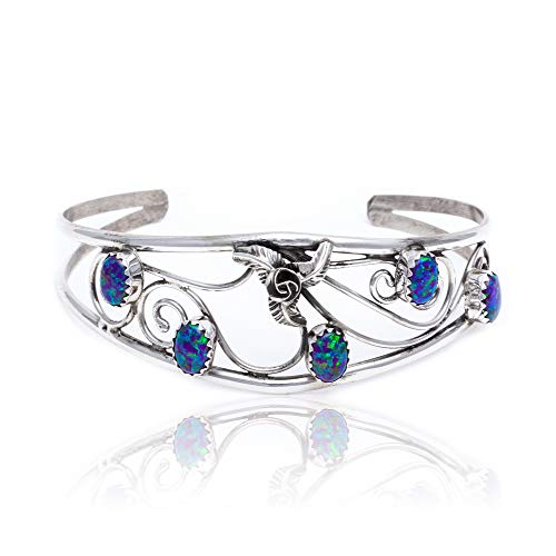 - $250Tag Flower Blue Opal Silver Certified Navajo Native Cuff Bracelet 13109-4 Made by Loma Siiva