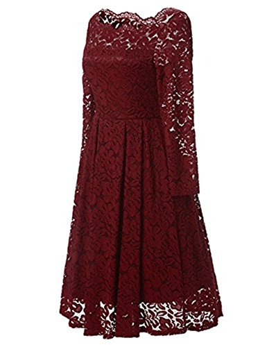 JH DRESS Short Lace Prom Retro Cocktail Dresses Long Sleeves Cheap Wedding Dresses For Women 50s Vintage Floral,Red,XX-Large