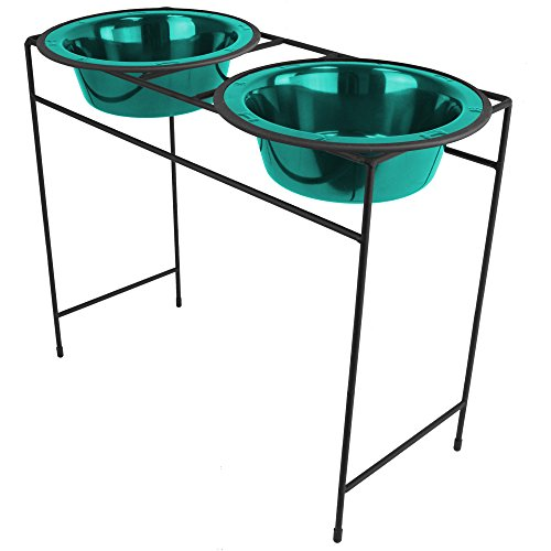 Platinum Pets Double Diner Feeder with Stainless Steel Dog Bowls, 10 cup/80 oz, Caribbean Teal by Platinum Pets