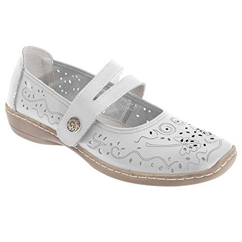 Boulevard Damen Sommer Leder-Schuhe mit Lochmuster Schwarz