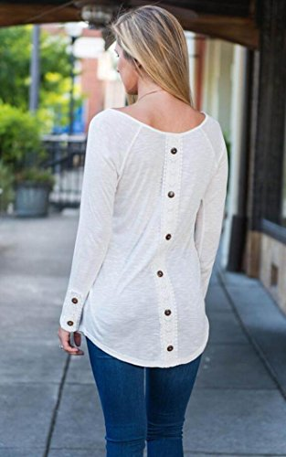 BSGSH Women Back Lace Button Splicing Tunic Tops Long Sleeve Round Neck T shirts Blouses