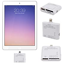 Connection Adaptor Kit for iPad 4th Gen/Air/Air 2 iOS 9 Only - Adapter Kit Ft Lightning Connector, USB 2.0 Port, Dual SD Card Slots - by DURAGADGET