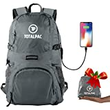 Totalpac Lightweight Hiking and Travel Backpack for Men & Women - Ultralight Packable Outdoor Back Pack for Any Hike - Small Foldable Daypack with USB Cable for Charging Gear While Trave (Grey)