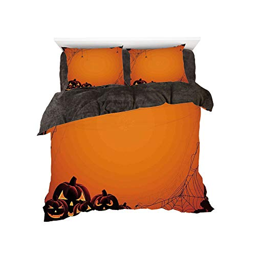 Flannel 4 Pieces on The Bed Duvet Cover Set 3D Printed for Bed Width 4ft Pattern by,Halloween Decorations,Grunge Spider Web Pumpkins Horror Time of Year Trick or Treat,Orange Seal Brown ()