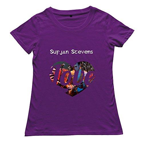 Goldfish Women's Vintage Ring Spun Cotton Sufjan Stevens T-Shirt Purple US Size L
