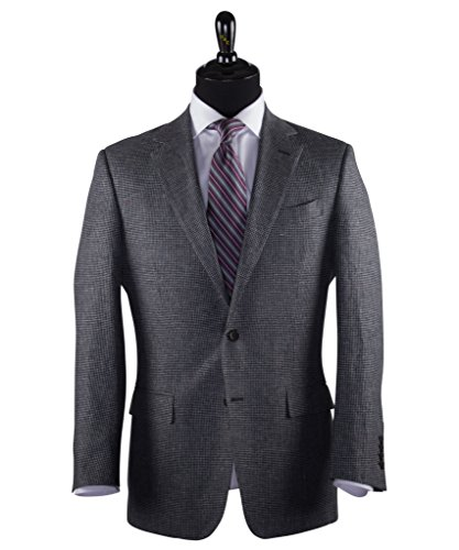 (Wilkes & Riley Grey Houndstooth Check Linen & Wool Sports Jacket)