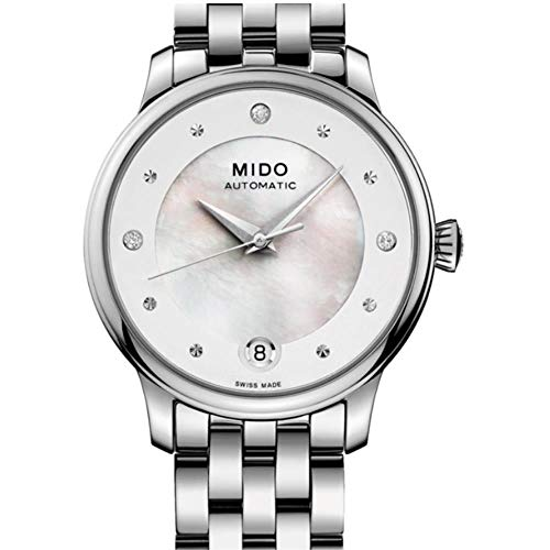 Mido Women's Baroncelli Diamond 27.9mm Steel Bracelet & Case Automatic MOP Dial Watch M039.207.11.106.00