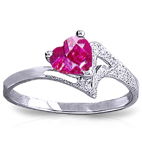 14k White Gold Heart-shaped Pink Topaz Ring - Size 10.0