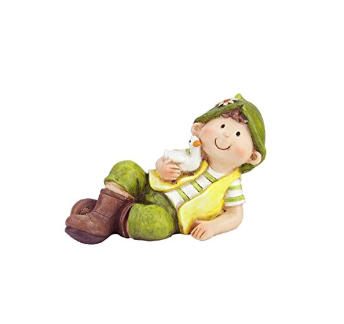 Northlight QQ76237 A Young Boy Gnome Laying with Duck Spring Outdoor Garden Patio Figure Statuary and Fountains, 7.5'', Green by Northlight