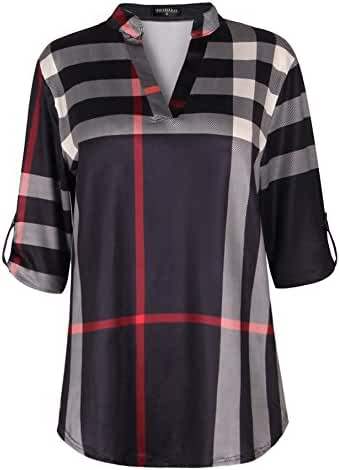 Sheshares Plaid Shirts for Women Plus Size Tops V Neck Roll Tab Sleeve Blouse