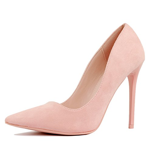 - Guilty Heart - Womens Classic Stiletto Dress High Heel Pointy Toe Sexy Office Pump Wedges-Sandals, Pink Suede, 7 B(M) US