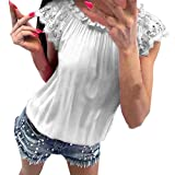 Yaseking Women's Chiffon Solid Color Shirts, Sleeveless Blouses Lace O-Neck Pullover Shirts Tops Beachwear (M, White)