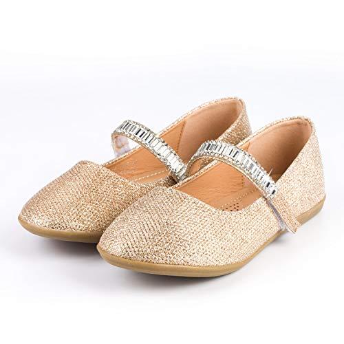 Nova Utopia Toddler Little Girls Ballet Flat Shoes,NF Utopia Girl NFGF065 GoldGlitter 7 -