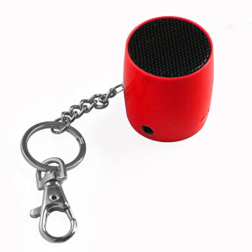 Keychain Speaker - MixBin Portable Bluetooth Speaker with Keychain & Phone Loudspeaker (Red)