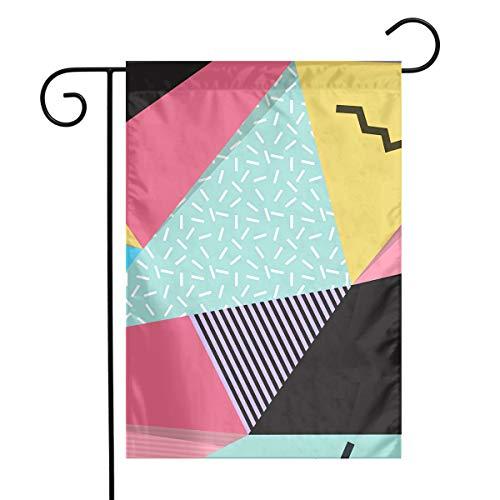 KIMBERLYBLAINE Geometric Patchwork Blocks Seasonal Garden Flag for Outdoors Holiday 12 X 18 Inch Outdoor Yard Flags, Decorative House Yard Flag Single Sided, Polyester, Durable (Block Kimberly)