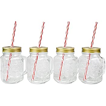 Mason Jar Mugs with Handle, Tin Lid and Plastic Straws. 16 Oz. Each. Old Fashion Drinking Glasses - Pack of 4. By Lily's Home