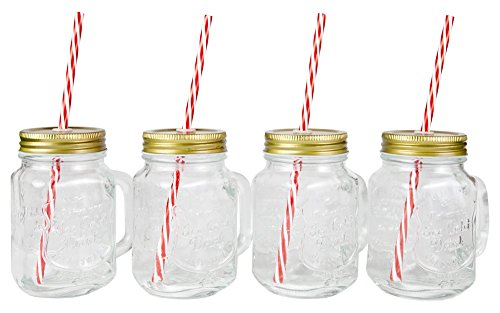 ioned Mason Jar Mugs with Handles, Tin Lids and Matching Reusable Plastic Straws, Great as Old Fashion Drinking Glasses at BBQs and Parties, Clear (16 oz. Each, Set of 4) ()