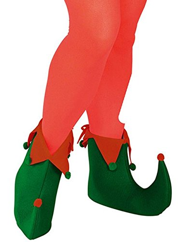 Shoes For Costumes (Rubie's Adult Elf Shoes, Green/Red, One Size)