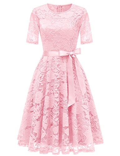 DRESSTELLS Short Bridesmaid Scoop Floral Lace Dress Cocktail Formal Party Dress Pink ()