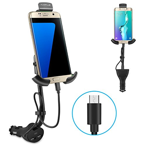 (AUOPLUS Gooseneck Car Outlet Mount Cigarette Lighter Phone Holder Charger with Built-in Micro USB Charging Cord for Samsung Galaxy and More Android Smartphones)