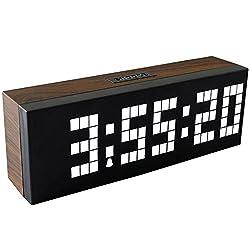 Chihai Digital Led Clock Wall Alarm Digital Calendar Clock Count Down Timer(wood grain series, white)
