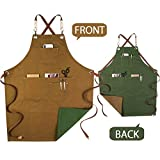 MOCOHANA Gardening Work Apron Gifts for Men Women Dual Use Cotton Apron with Tool Pockets Pottery Painting Artist Apron Barista Kitchen BBQ Barber Apron Leather Cross-Back Straps