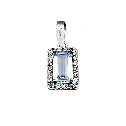 Pendentif 18k or blanc aigue-marine rectangulaire pierre 10x6mm [AA4898]