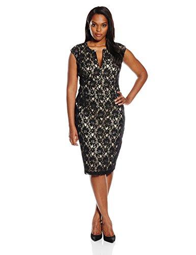 Single Dress Women's Plus Size Lace Meg Dress, Black/Nude, 1X