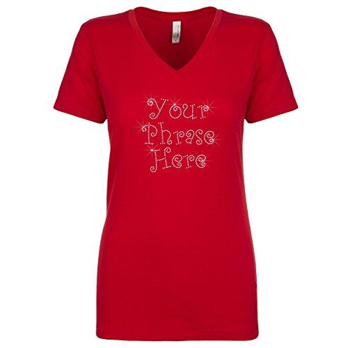 Personalized Rhinestone Gem Bling Womens Tshirt Tee V-Neck Custom Three Lines Red Large (Bling Custom T-shirts)