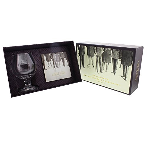 - Brandy Glass & Foil Coaster Set Gift For Him Boxed by ukgiftstoreonline