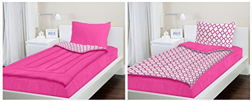 Zipit Bedding Set, Pink Clovers - Queen (Queen Size Pink Princess Bedding)