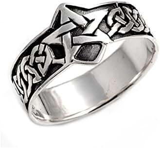 Pentagram Wicca Craft Ring Sterling Silver 925