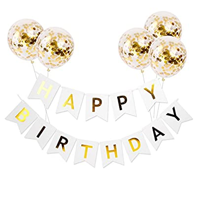 Happy Birthday Banner &5 Pieces Gold Confetti Balloons Party Balloons With Golden Paper Confetti Dots For Birthday Party Decorations Wedding Decorations And Proposal: Toys & Games